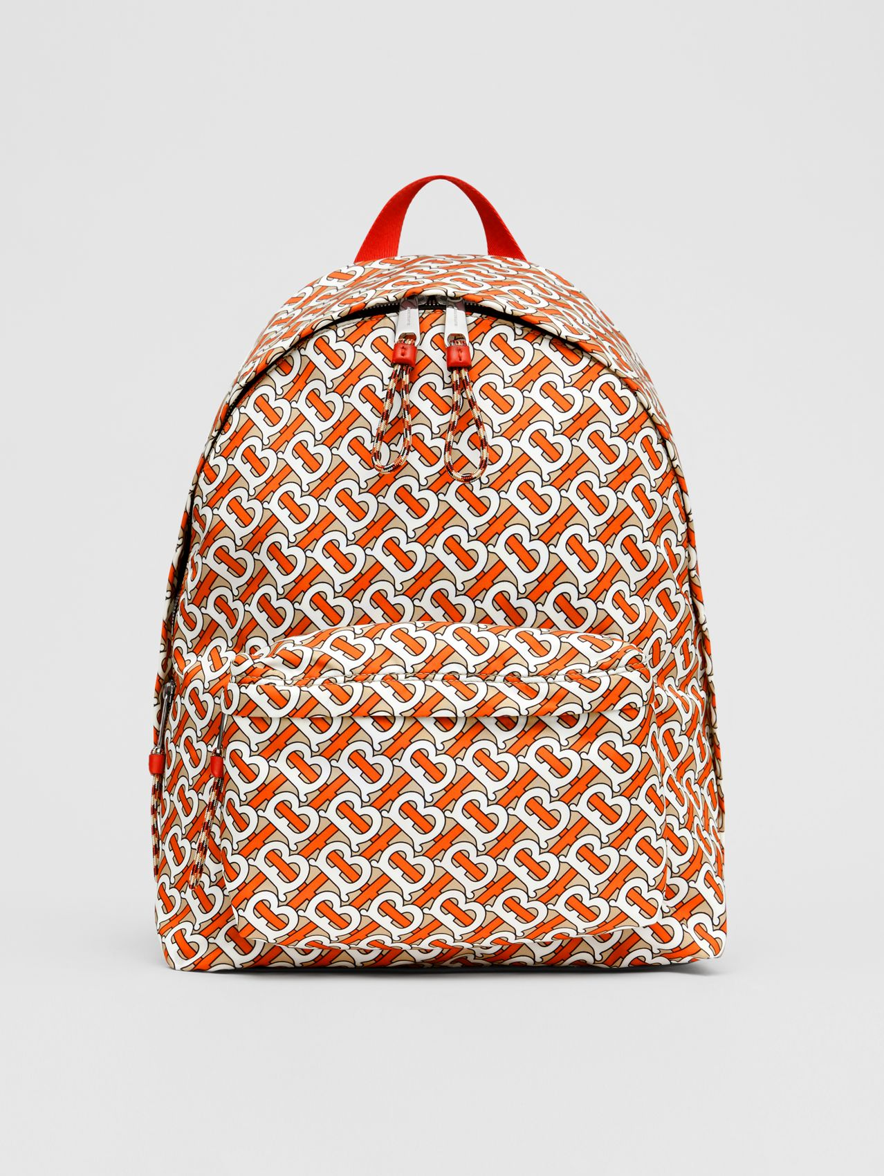 Monogram Print Nylon Backpack in Vermillion