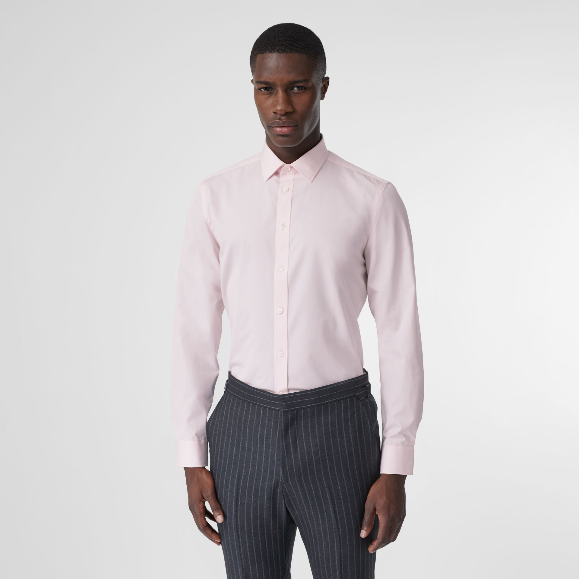 Slim Fit Monogram Motif Cotton Poplin Shirt in Alabaster Pink - Men | Burberry - gallery image 0
