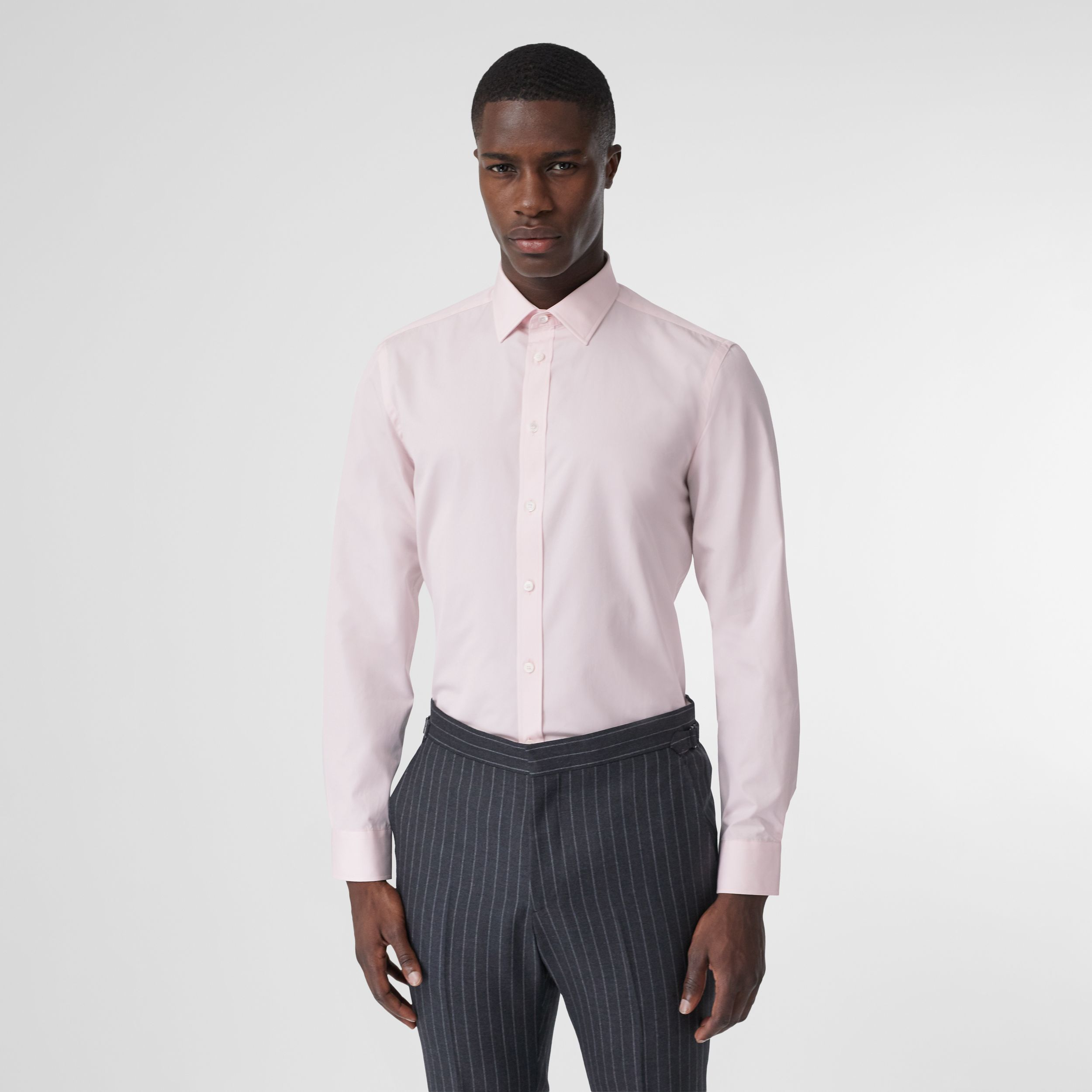 Slim Fit Monogram Motif Cotton Poplin Shirt in Alabaster Pink - Men | Burberry - 1