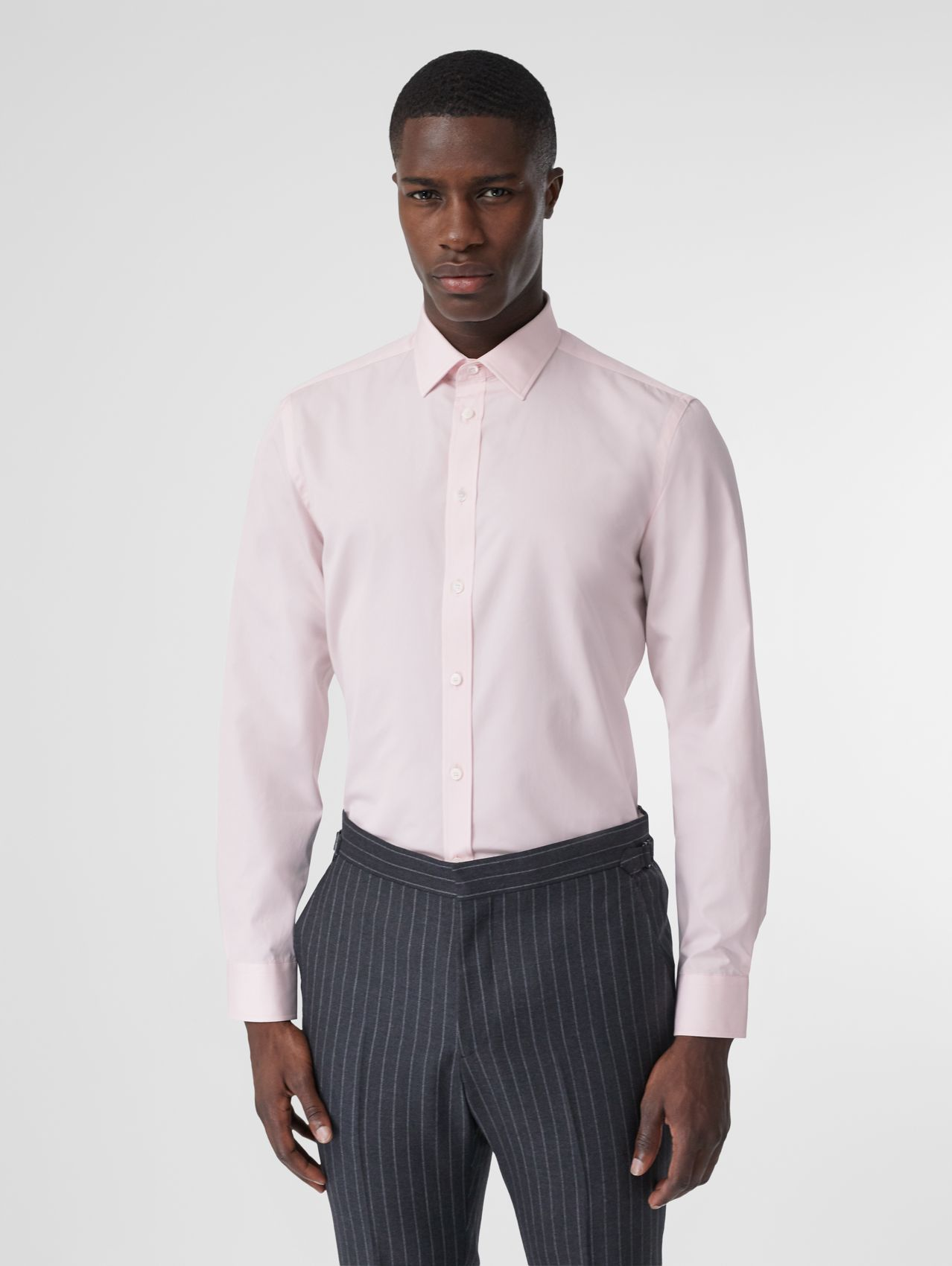 Slim Fit Monogram Motif Cotton Poplin Shirt (Alabaster Pink)