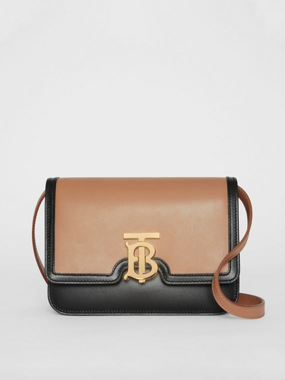 Small Leather TB Bag in Light Camel/black