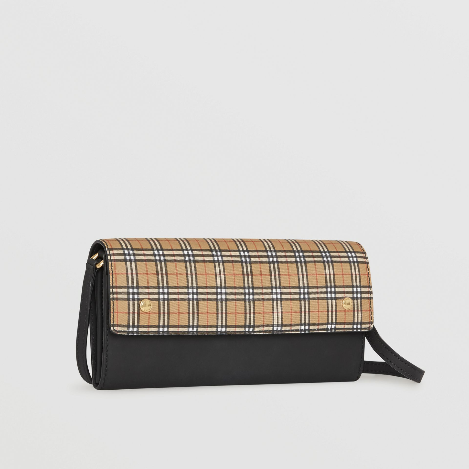 Small Scale Check Wallet with Detachable Strap in Antique Yellow - Women | Burberry - gallery image 3