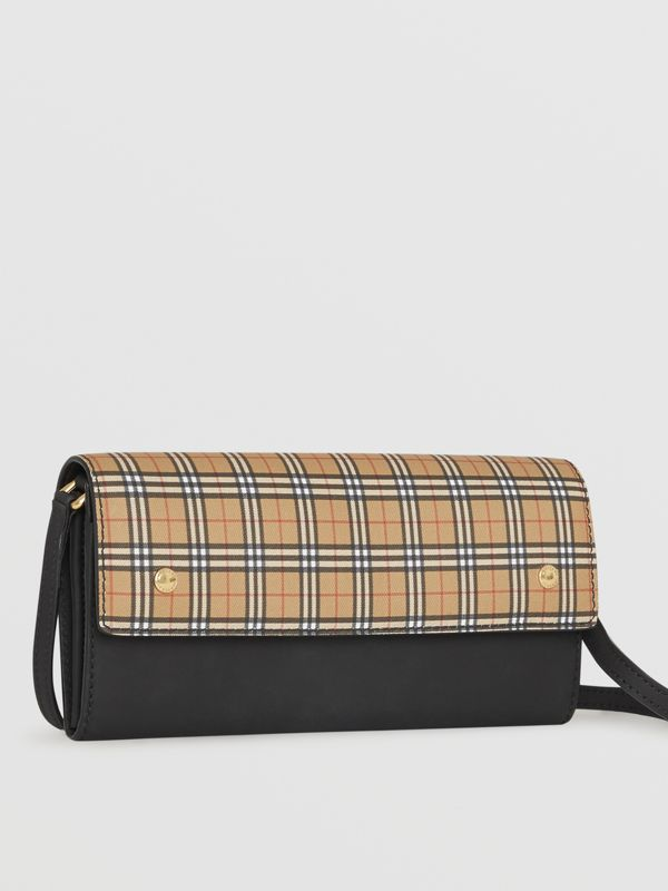 Small Scale Check Wallet with Detachable Strap in Antique Yellow - Women | Burberry Hong Kong - cell image 3