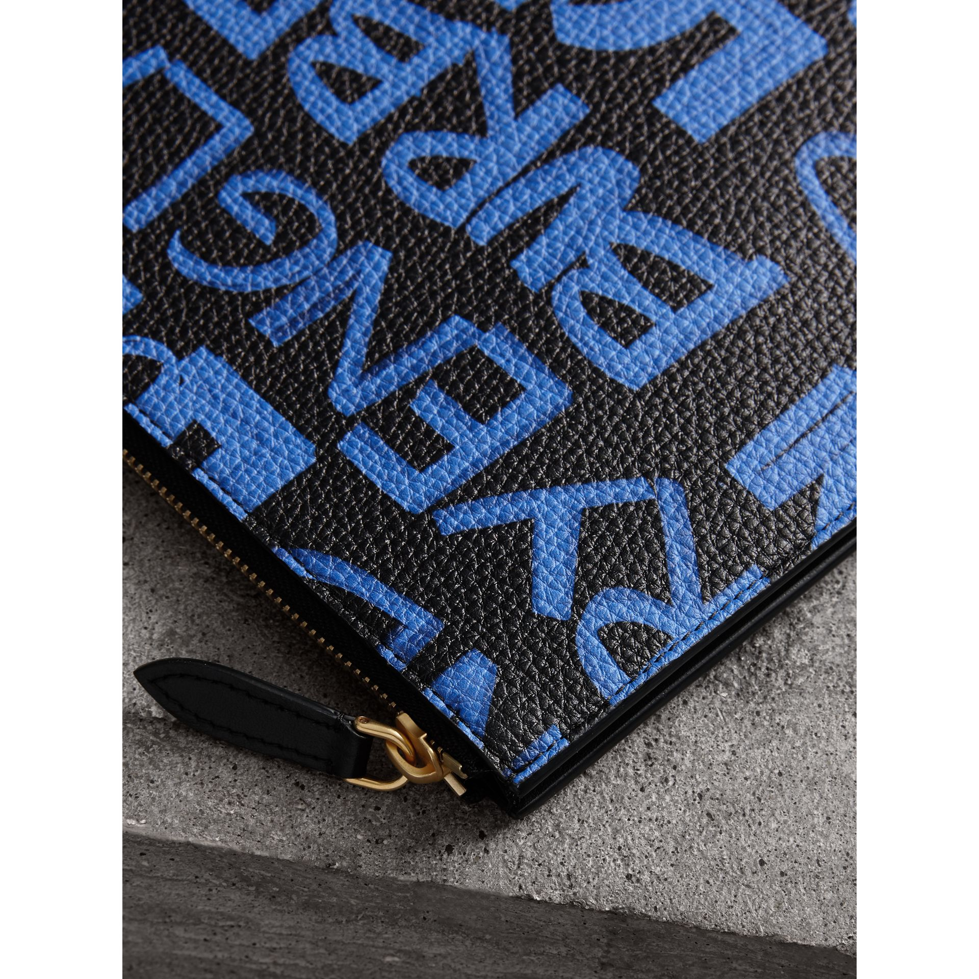 Graffiti Print Leather Zip Pouch in Blue/black | Burberry - gallery image 1