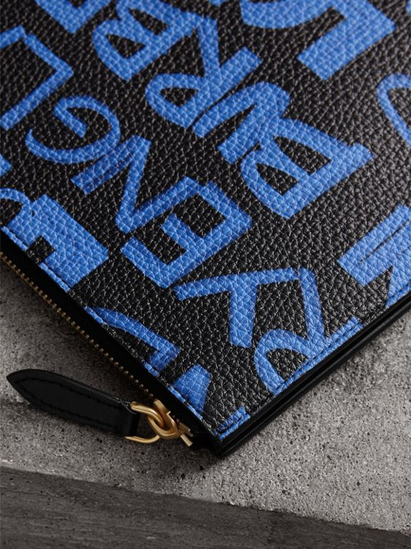 Graffiti Print Leather Zip Pouch in Blue/black | Burberry - cell image 1