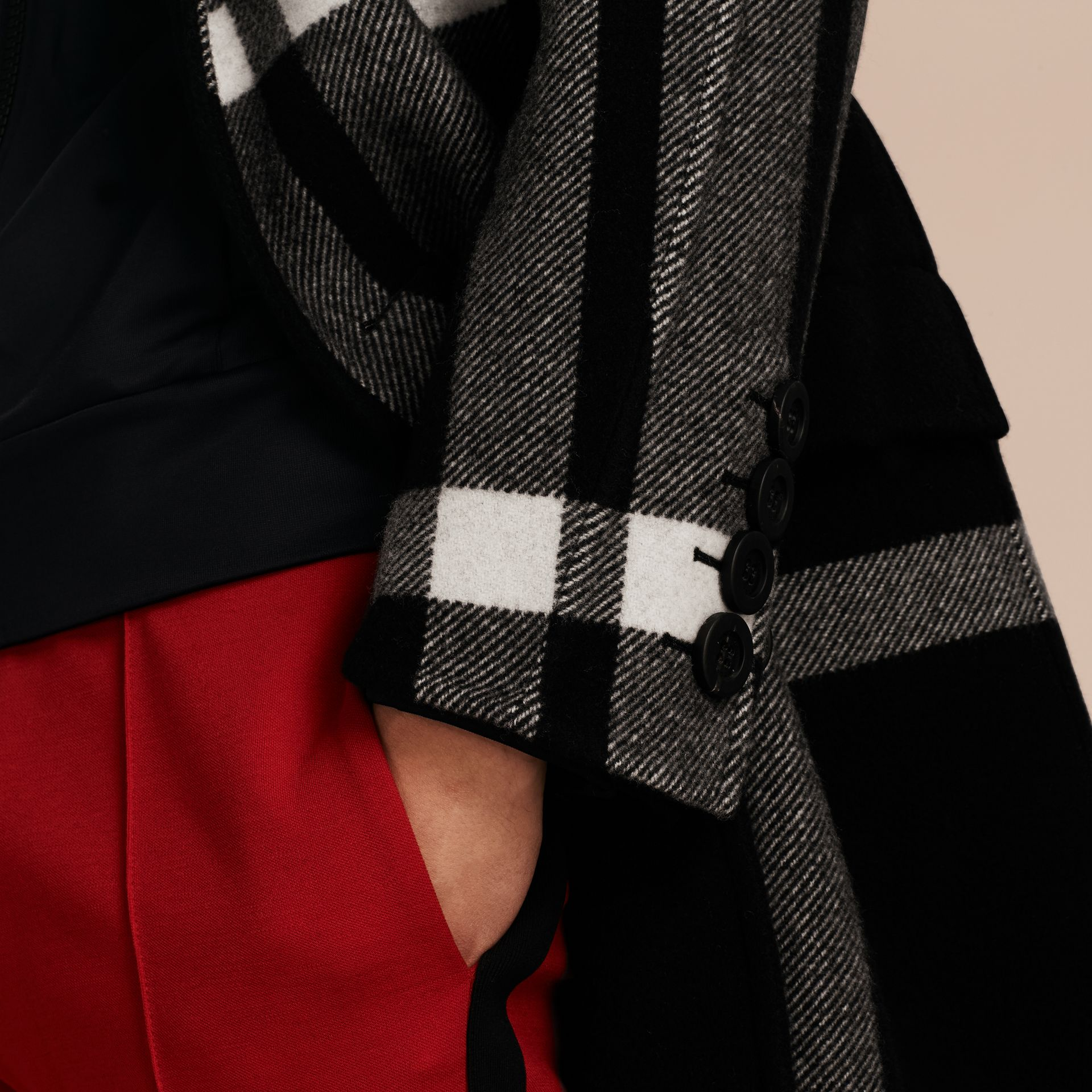 Black Double-breasted Check Wool Cashmere Coat - gallery image 6