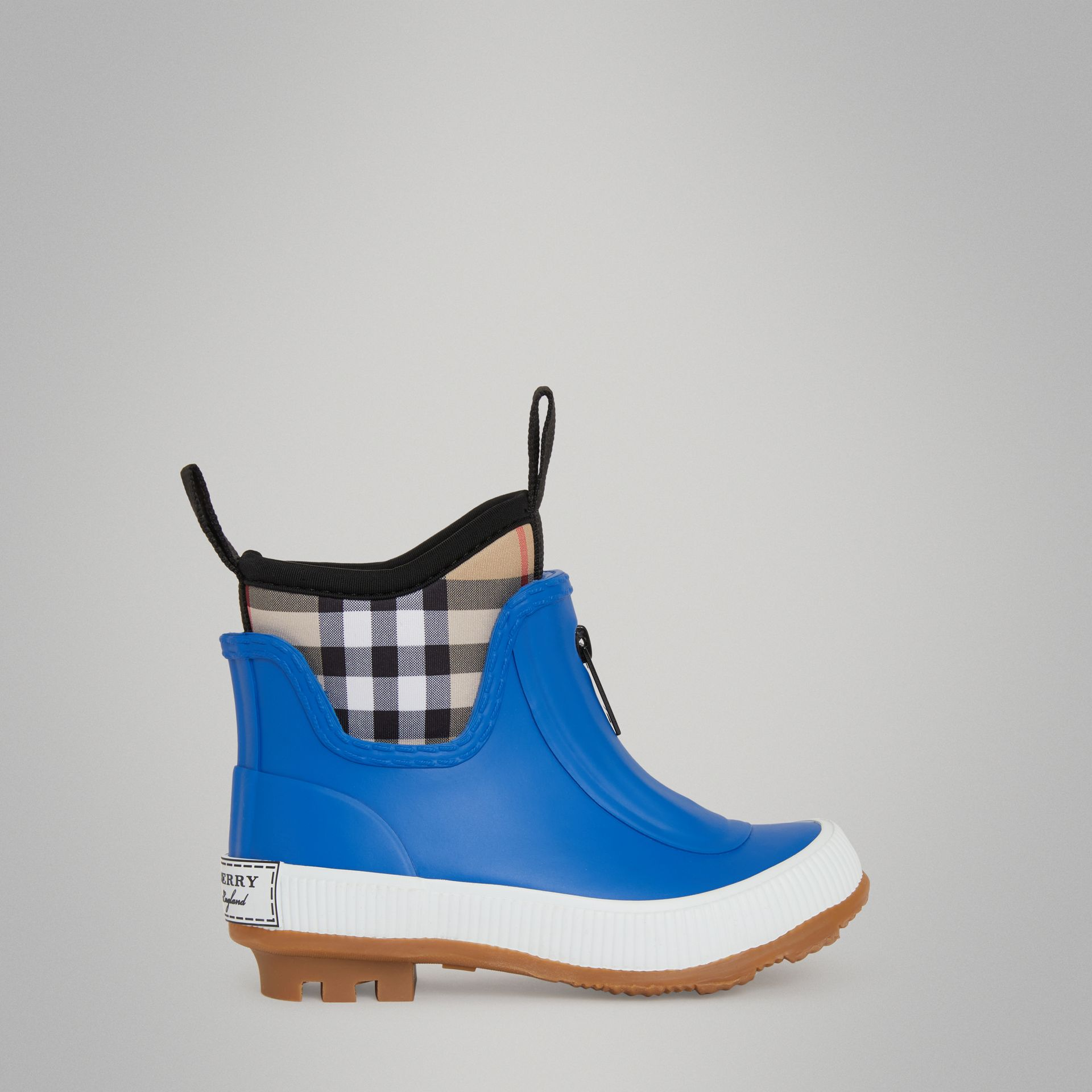 Vintage Check Neoprene and Rubber Rain Boots in Bright Canvas Blue - Children | Burberry Singapore - gallery image 3