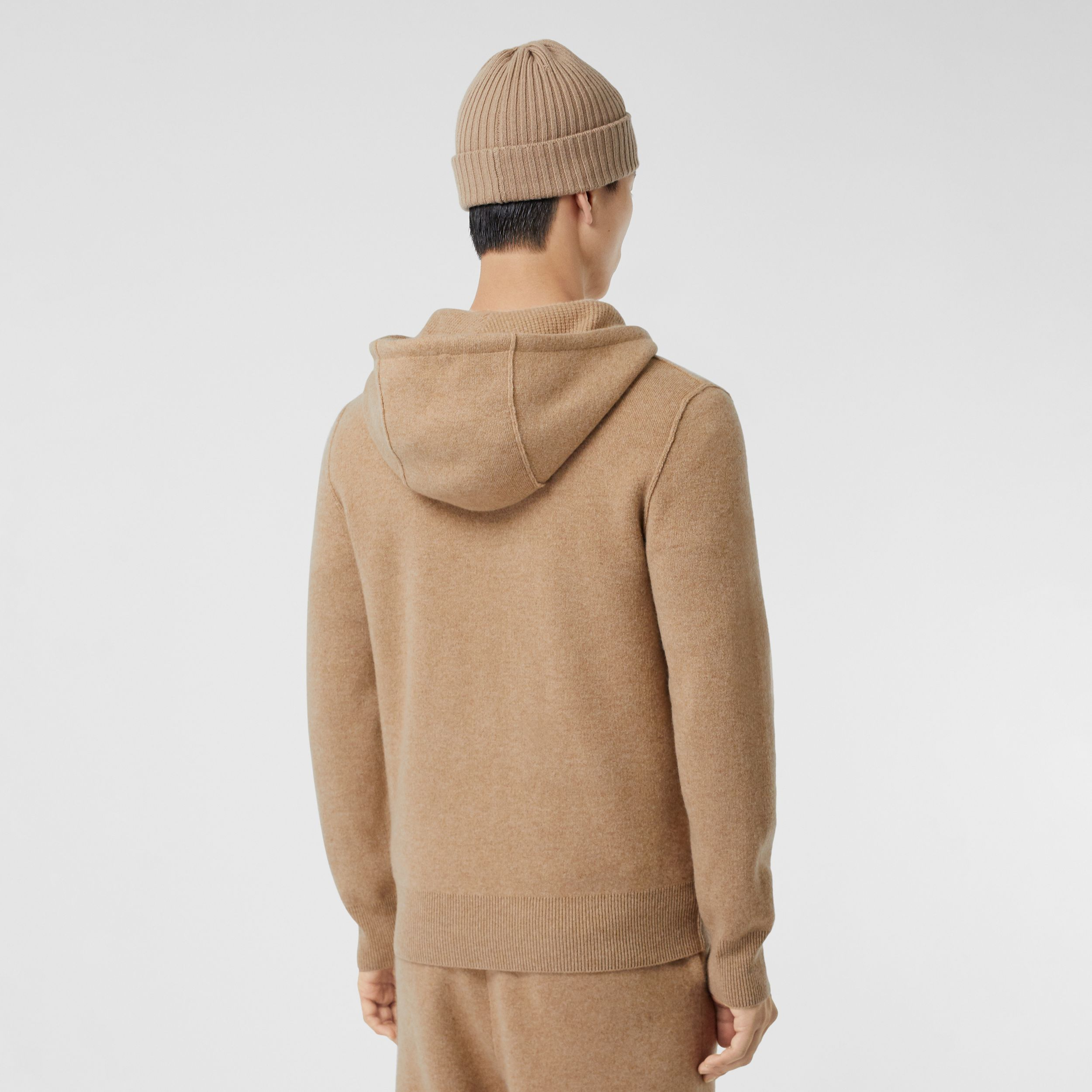Monogram Motif Cashmere Blend Hooded Top in Pale Coffee - Men | Burberry - 3