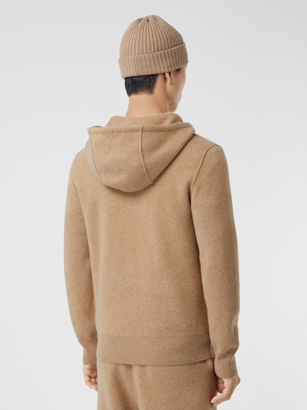 Monogram Motif Cashmere Blend Hooded Top in Pale Coffee - Men | Burberry Hong Kong S.A.R - cell image 2