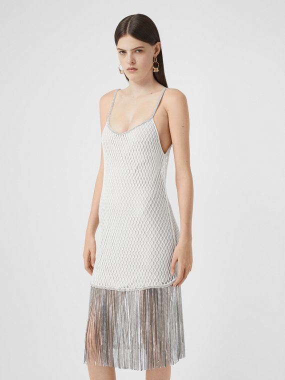 Crystal Fringe Cotton Mesh Dress in White