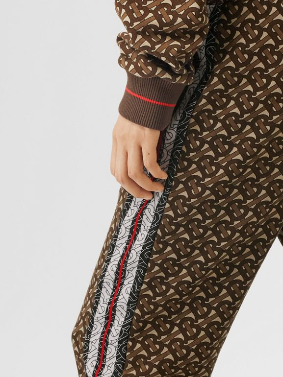 Monogram Stripe Print Cotton Trackpants in Bridle Brown - Women | Burberry United Kingdom - cell image 1