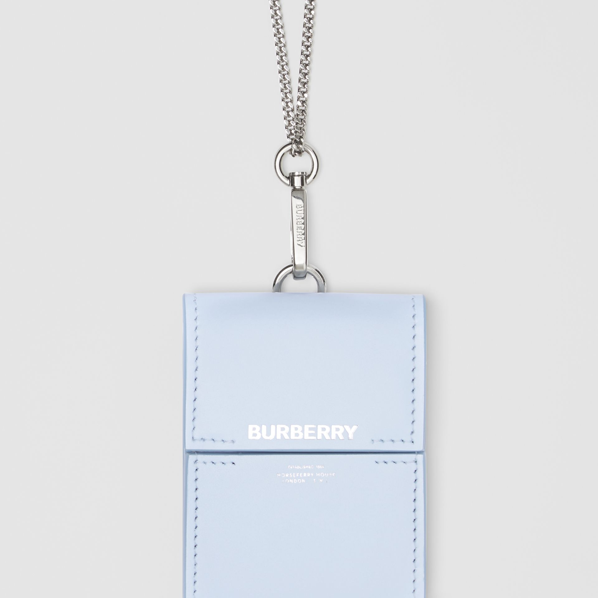 Horseferry Print Leather Card Case Lanyard in Pale Blue - Women | Burberry United States - gallery image 1