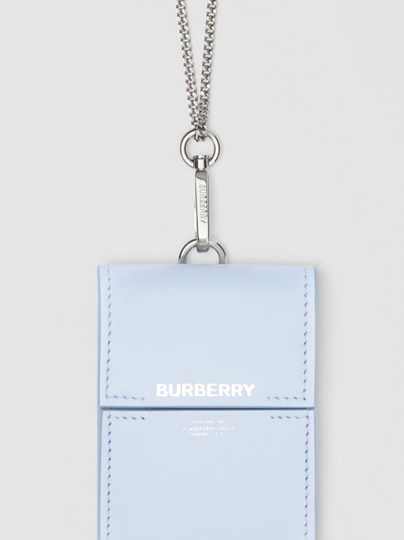 Horseferry Print Leather Card Case Lanyard in Pale Blue - Women | Burberry United States - cell image 1
