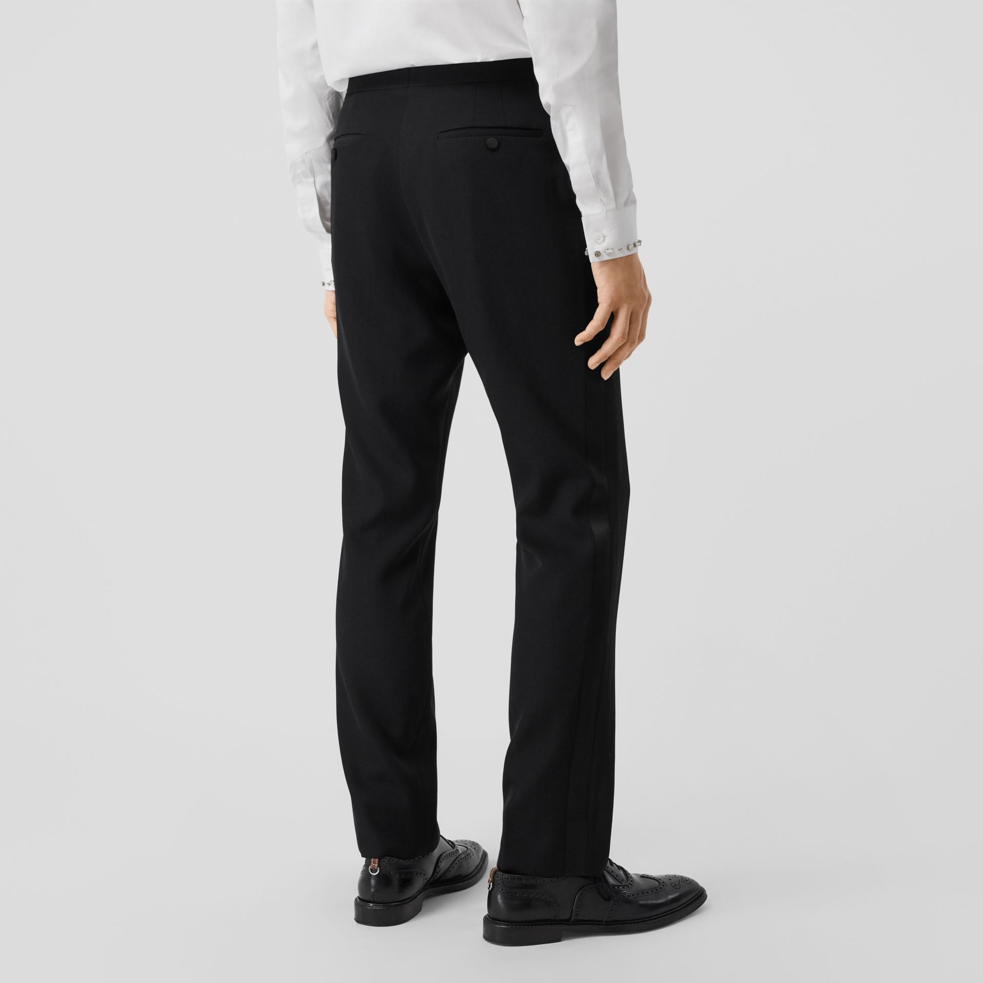 Classic Fit Silk Trim Wool Tailored Trousers in Black - Men | Burberry - gallery image 2