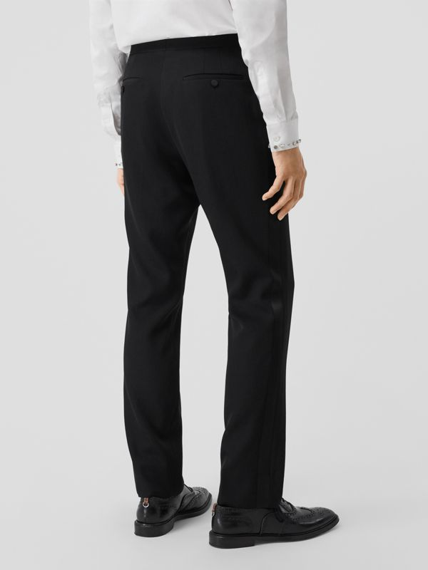 Classic Fit Silk Trim Wool Tailored Trousers in Black - Men | Burberry - cell image 2
