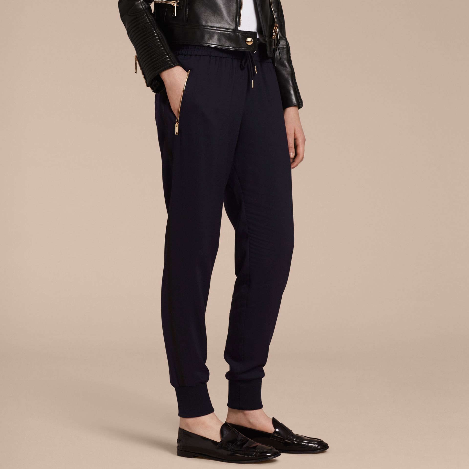 Zip Detail Jersey Sweat Pants Navy - gallery image 6
