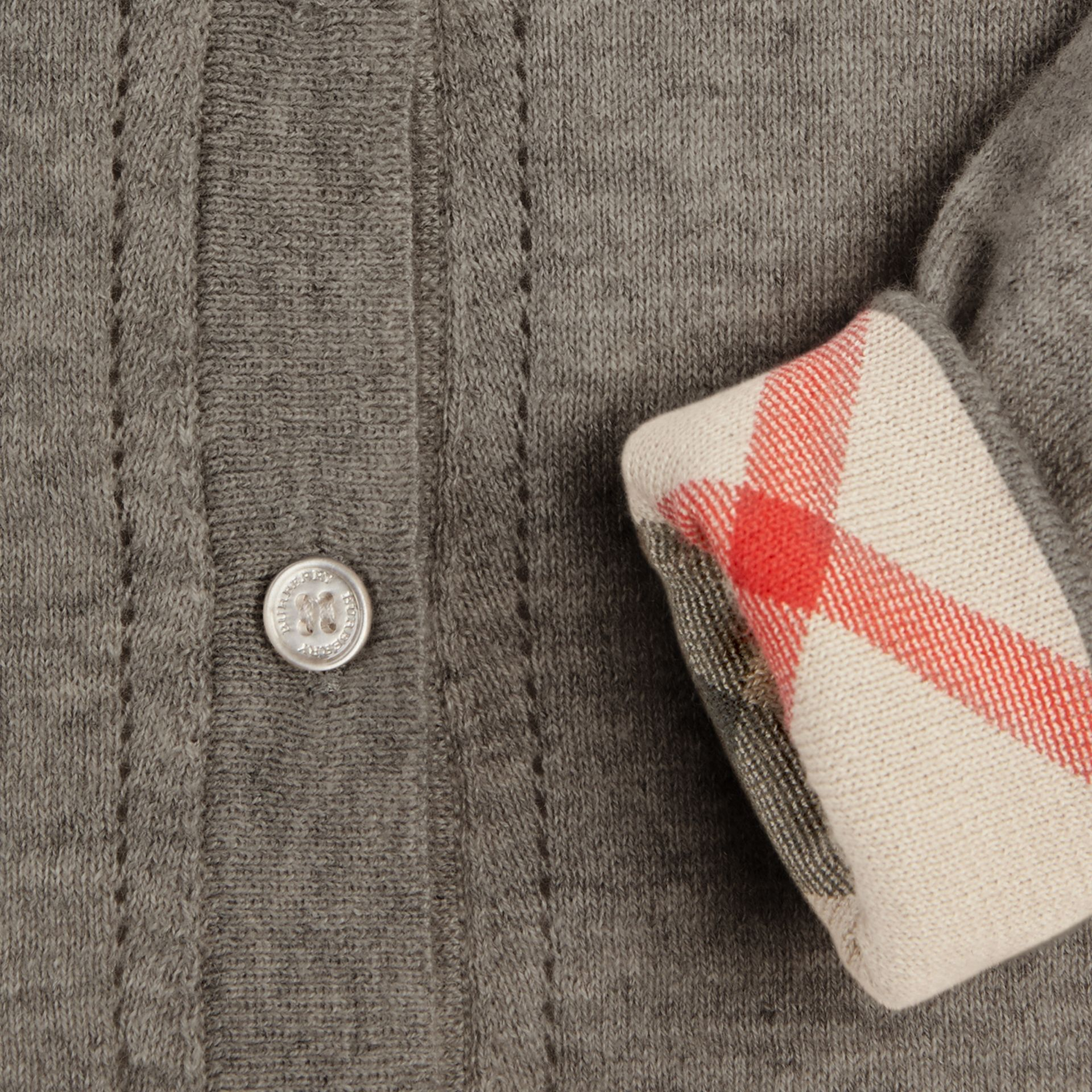 Check Cuff Cotton Knit Cardigan in Pale Grey Melange - gallery image 3