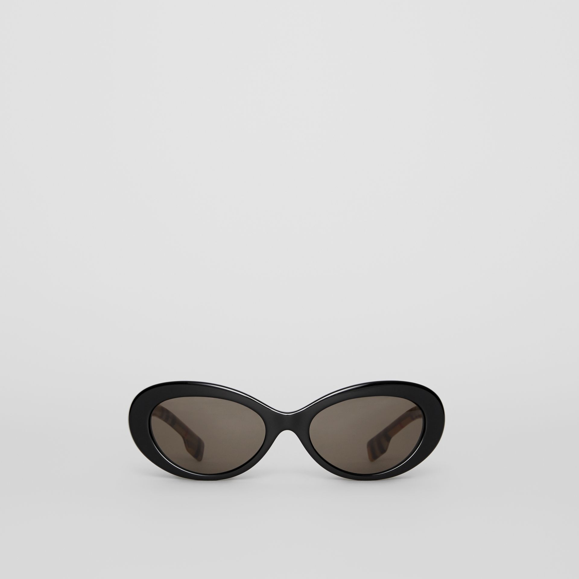 Vintage Check Detail Cat-eye Frame Sunglasses in Black - Women | Burberry - gallery image 0