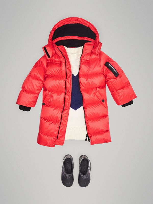 Detachable Hood Down-filled Puffer Coat in Bright Orange Red | Burberry Australia - cell image 2