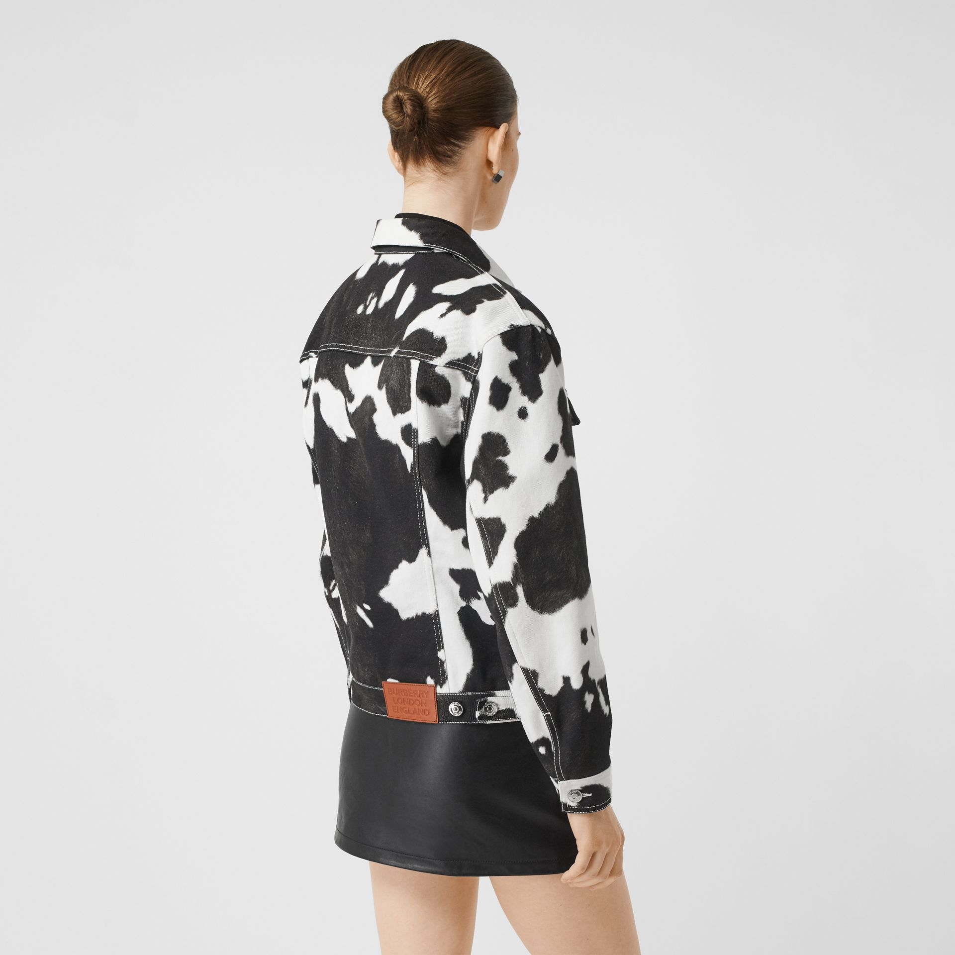 Cow Print Denim Jacket in Black - Women | Burberry - gallery image 2