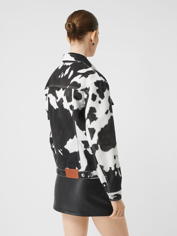 Cow Print Denim Jacket in Black - Women | Burberry - cell image 2
