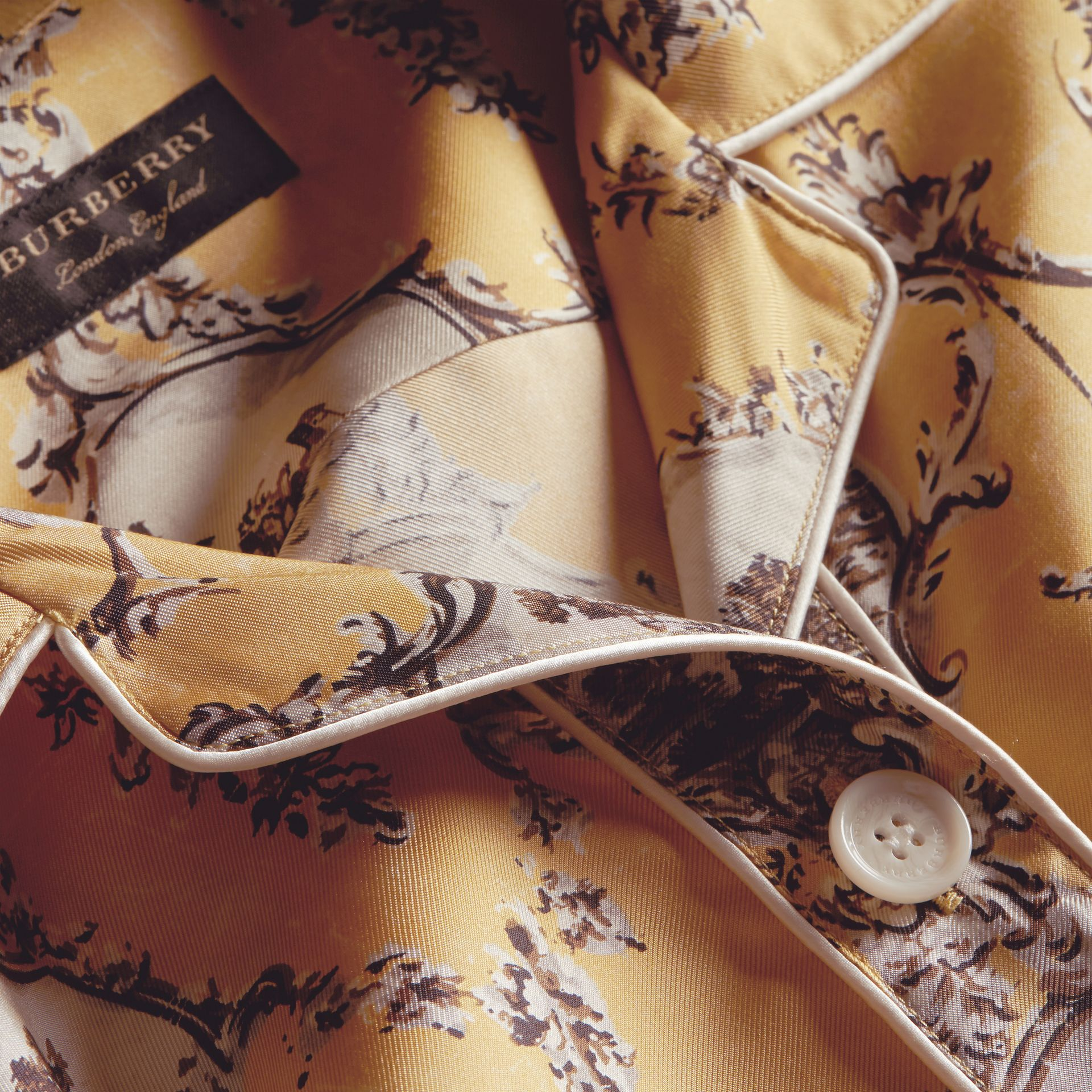 Yellow barley Wallpaper Print Silk Twill Pyjama-style Shirt - gallery image 2