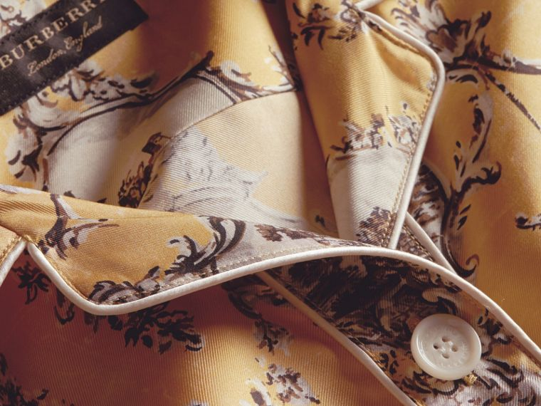 Yellow barley Wallpaper Print Silk Twill Pyjama-style Shirt - cell image 1