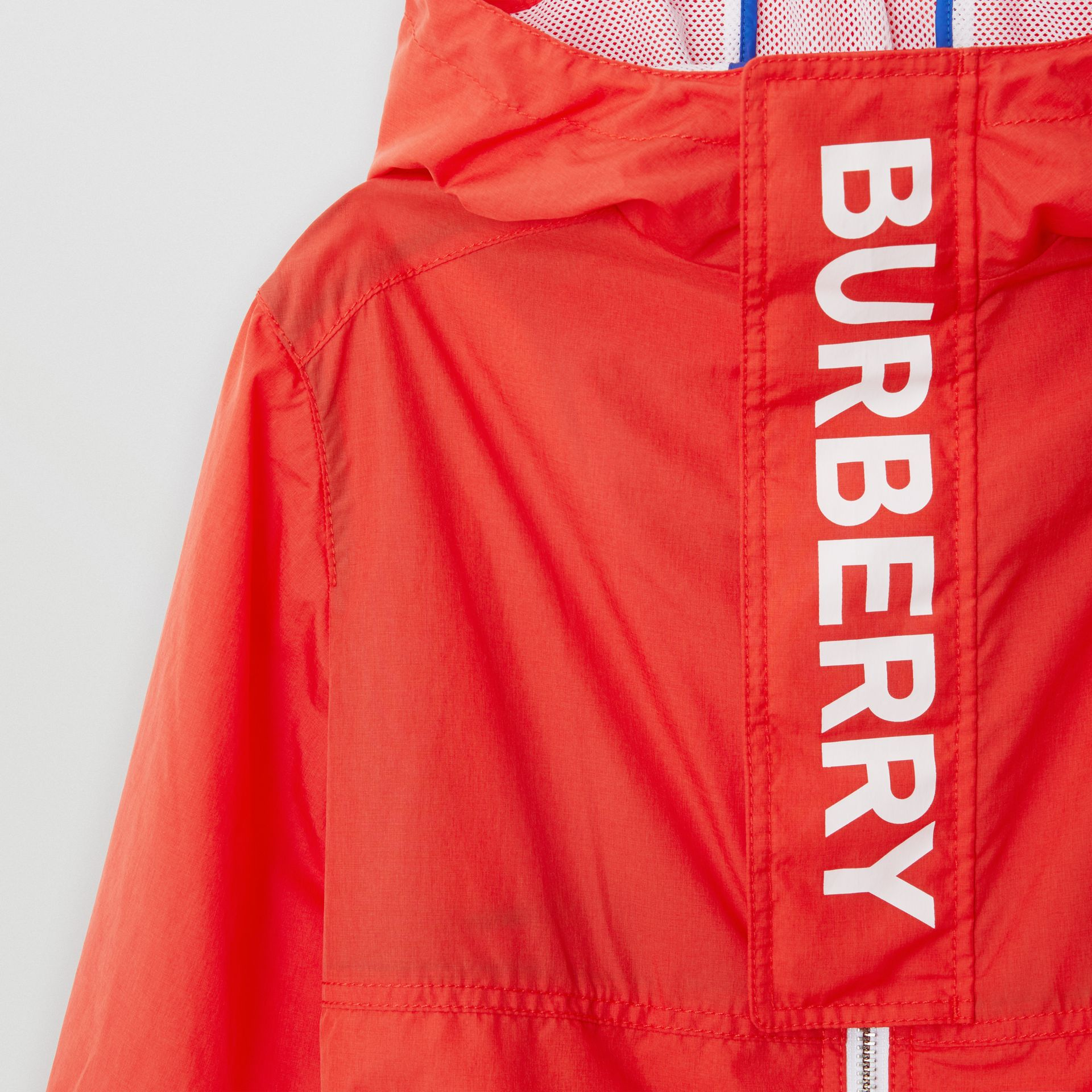 Logo Print Lightweight Hooded Jacket in Orange Red | Burberry - gallery image 5