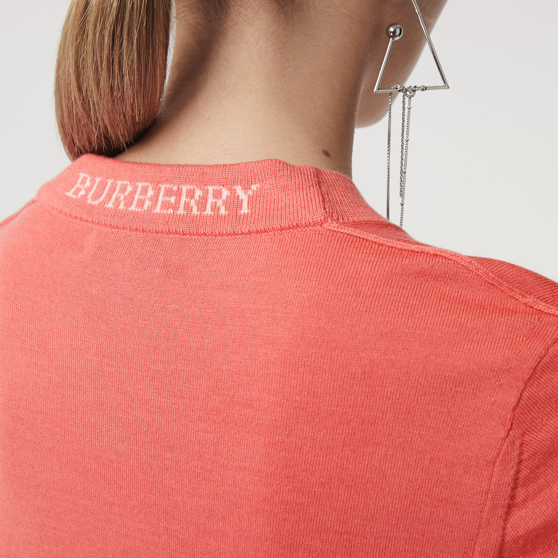 Merino Wool Crew Neck Sweater in Coral - Women | Burberry - gallery image 1