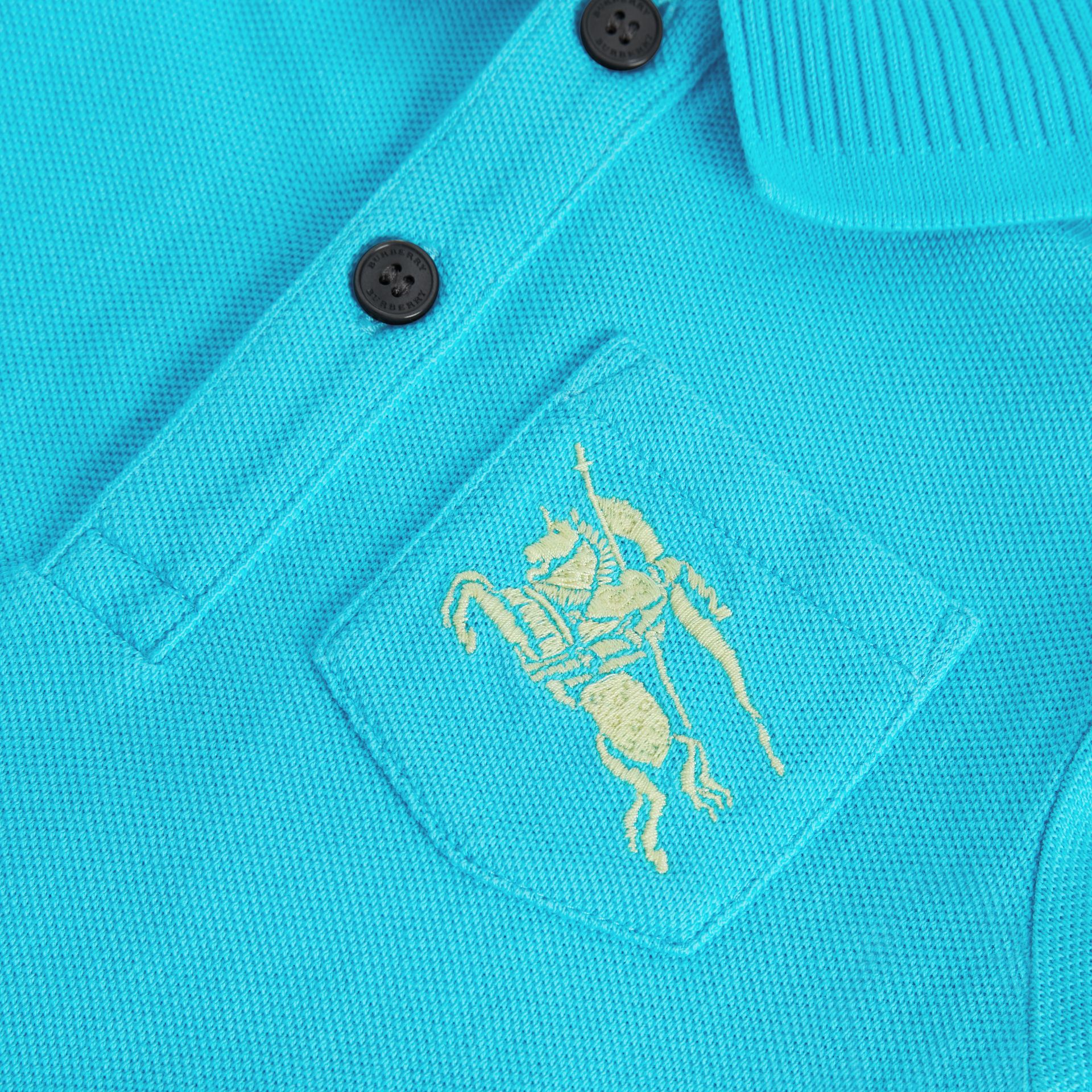 EKD Logo Cotton Piqué Polo Shirt in Bright Cyan Blue - Children | Burberry Australia - gallery image 1