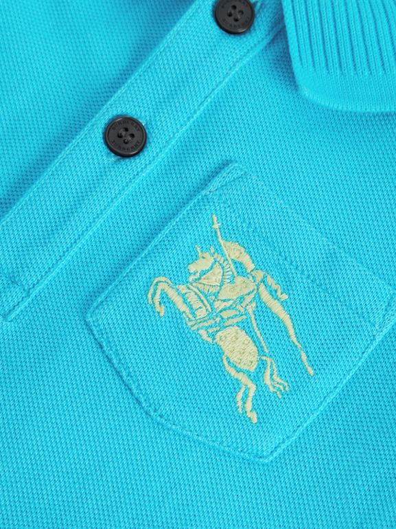 EKD Logo Cotton Piqué Polo Shirt in Bright Cyan Blue - Children | Burberry Australia - cell image 1