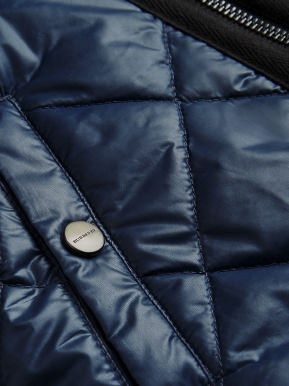 Showerproof Diamond Quilted Jacket in Navy | Burberry - cell image 1