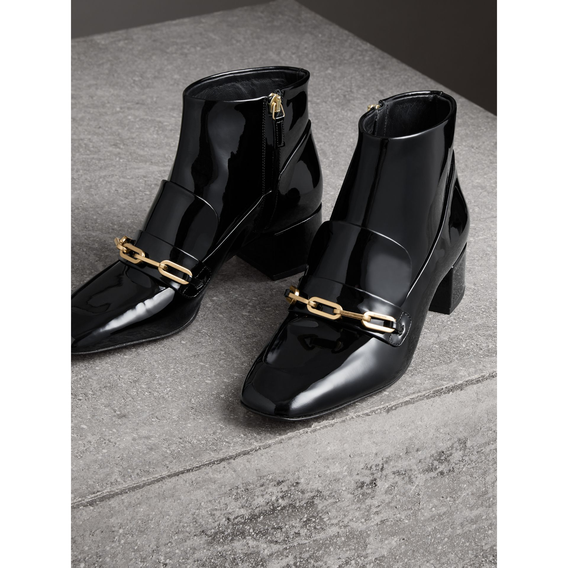 Link Detail Patent Leather Ankle Boots in Black - Women | Burberry - gallery image 4