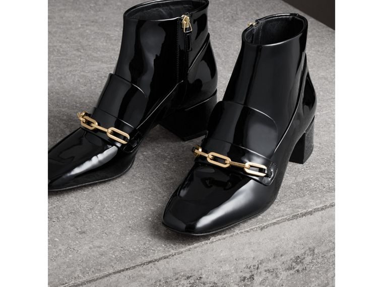 Link Detail Patent Leather Ankle Boots in Black - Women | Burberry - cell image 4