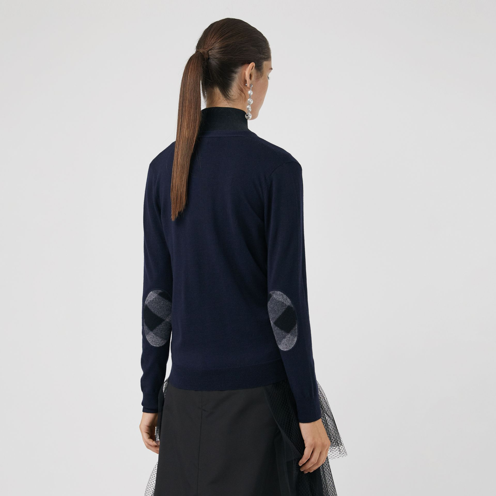 Check Detail Merino Wool Cardigan in Navy - Women | Burberry - gallery image 2