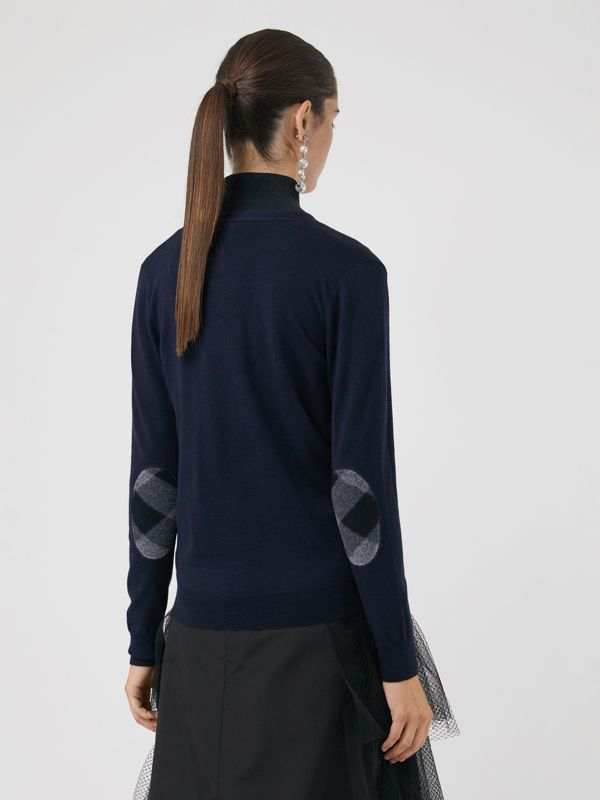 Check Detail Merino Wool Cardigan in Navy - Women | Burberry - cell image 2