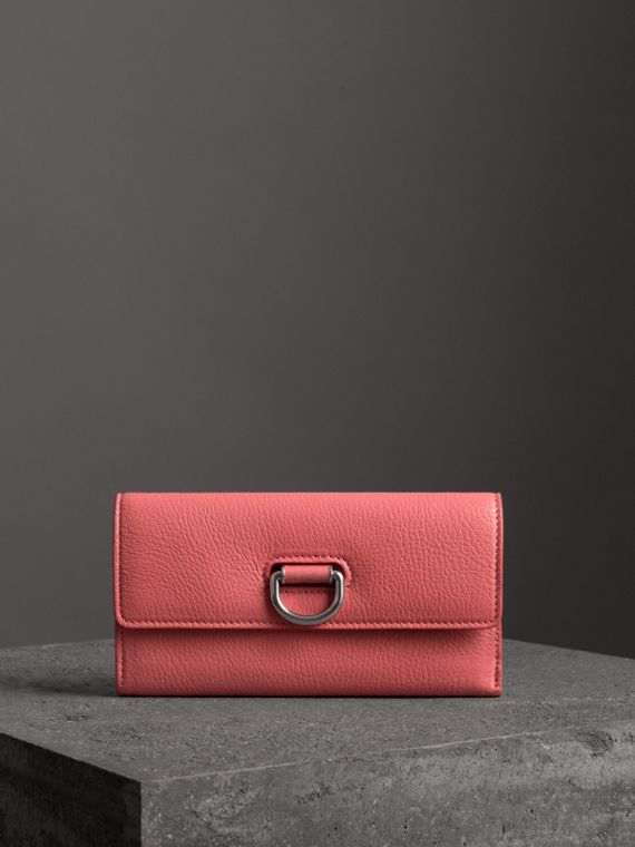 D-ring Grainy Leather Continental Wallet in Bright Coral Pink