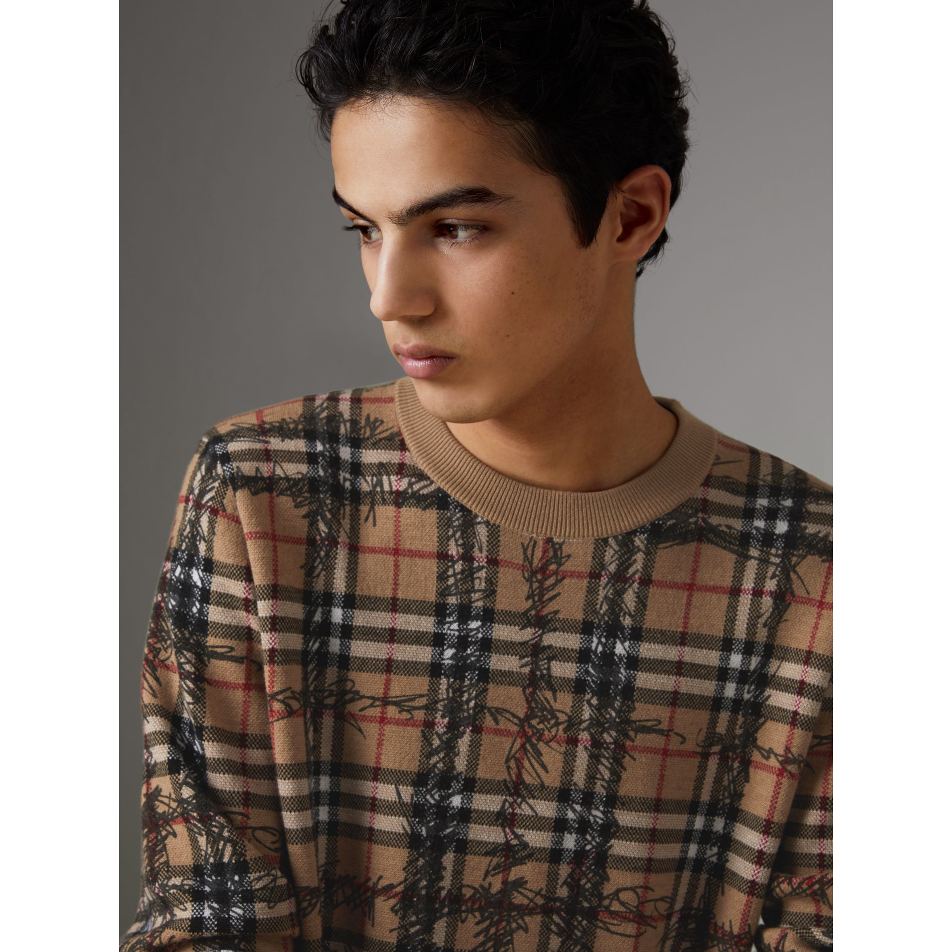 Scribble Check Merino Wool Sweater in Camel/black - Men | Burberry United States - gallery image 1