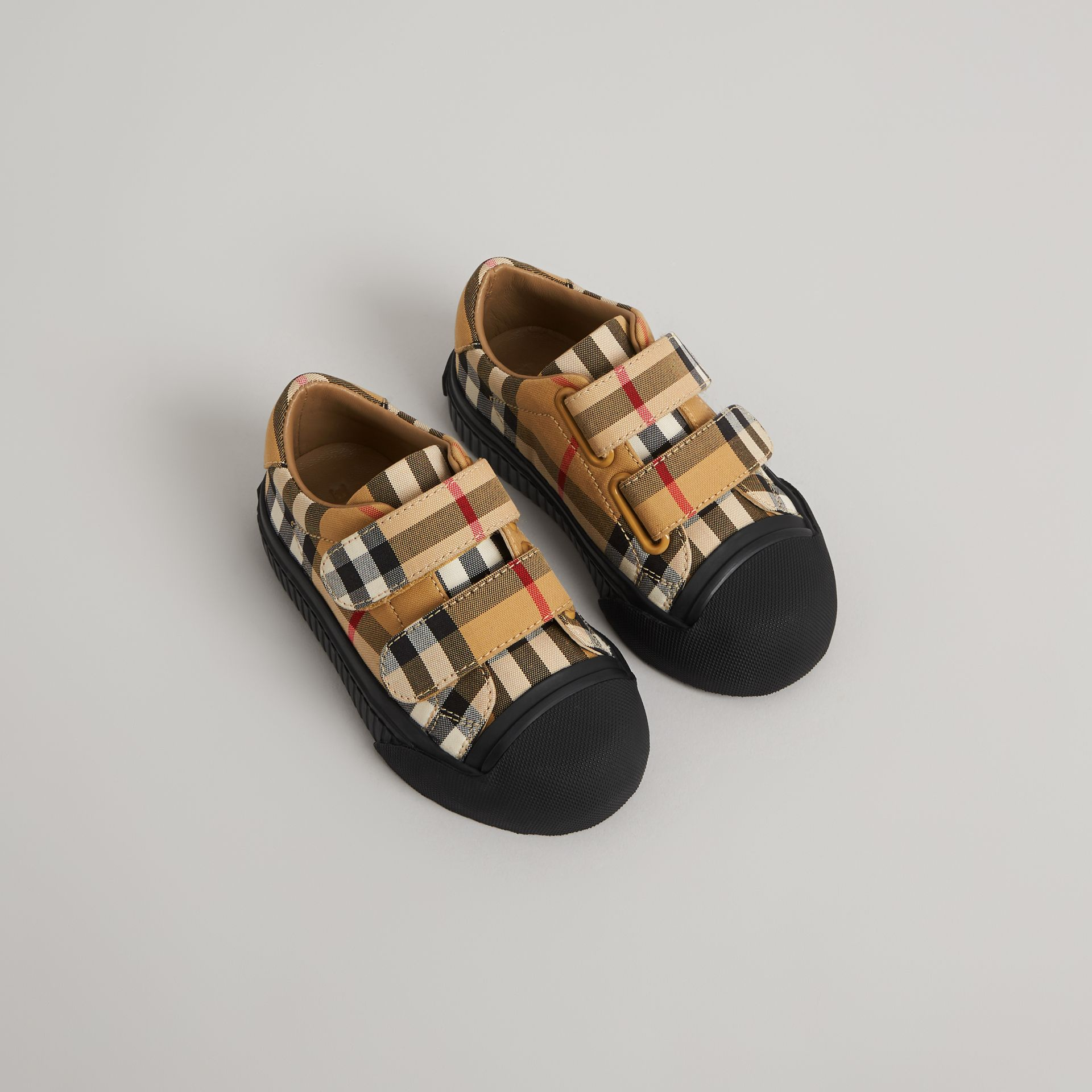 Vintage Check and Leather Sneakers in Antique Yellow/black - Children | Burberry United States - gallery image 0