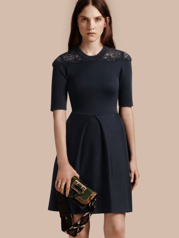 Macramé Lace Detail Silk Blend Dress Navy