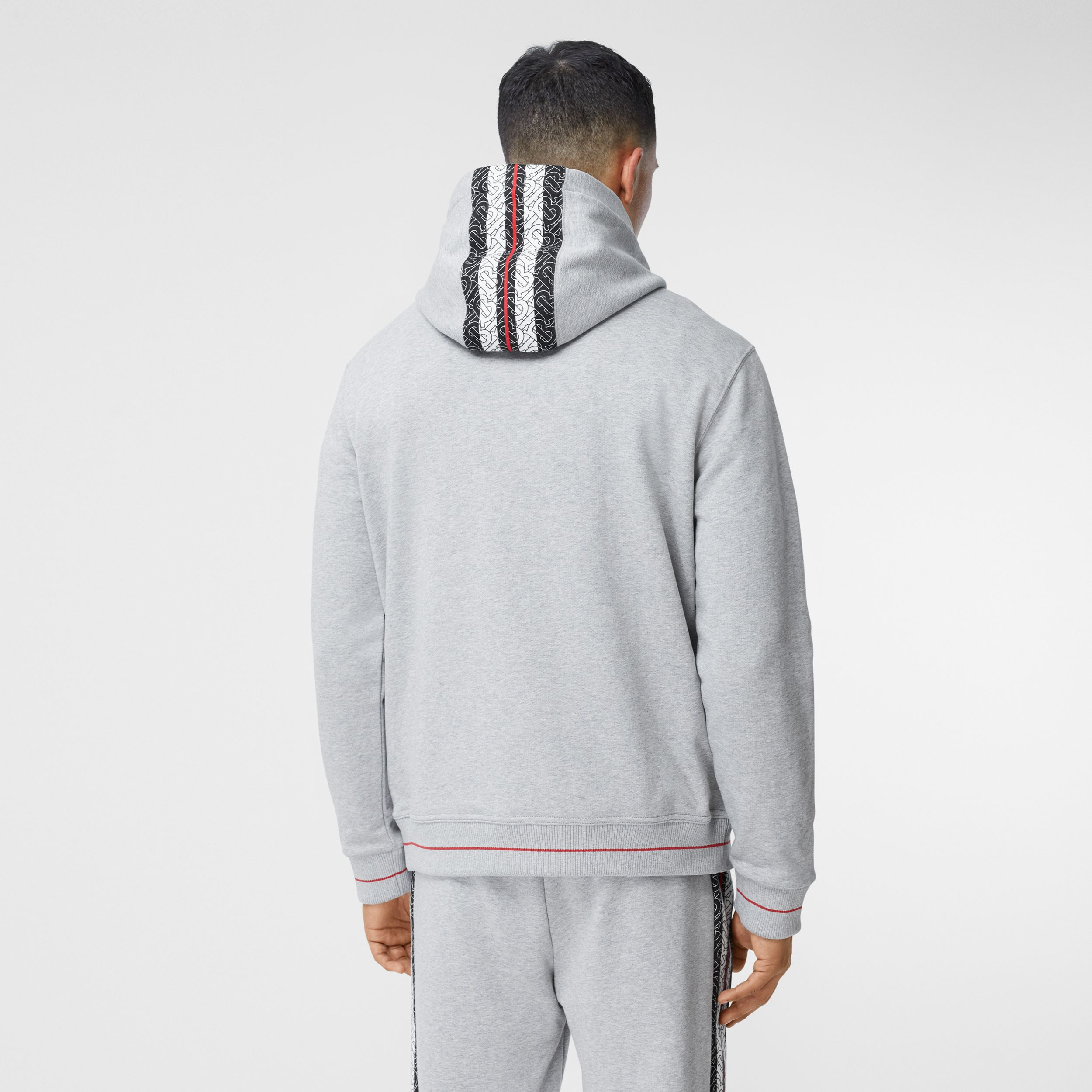 Monogram Stripe Panel Cotton Hoodie in Pale Grey Melange - Men | Burberry - 3
