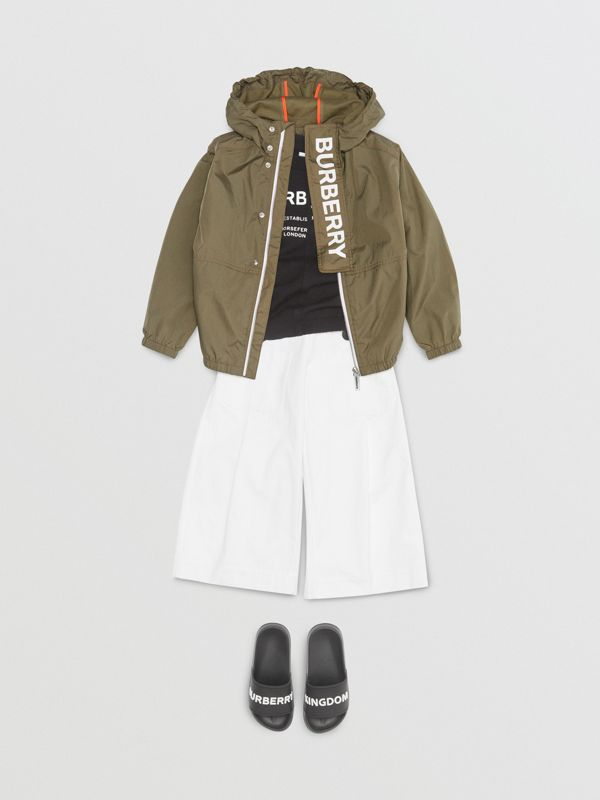 Logo Print Lightweight Hooded Jacket in Military Green | Burberry - cell image 2