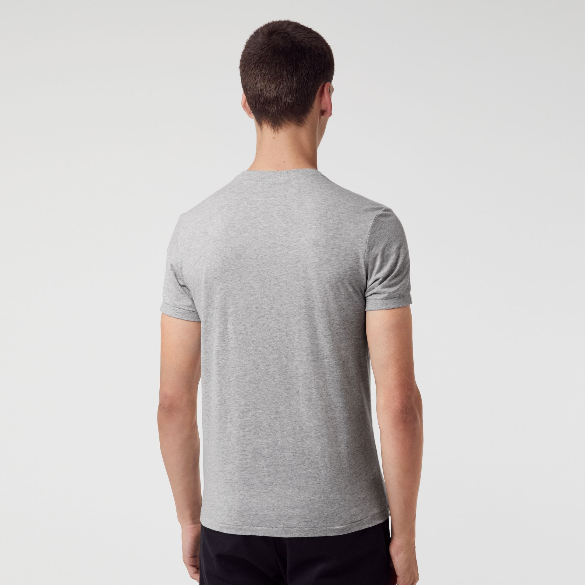 Cotton Jersey V-neck T-shirt in Pale Grey Melange - Men | Burberry - gallery image 2