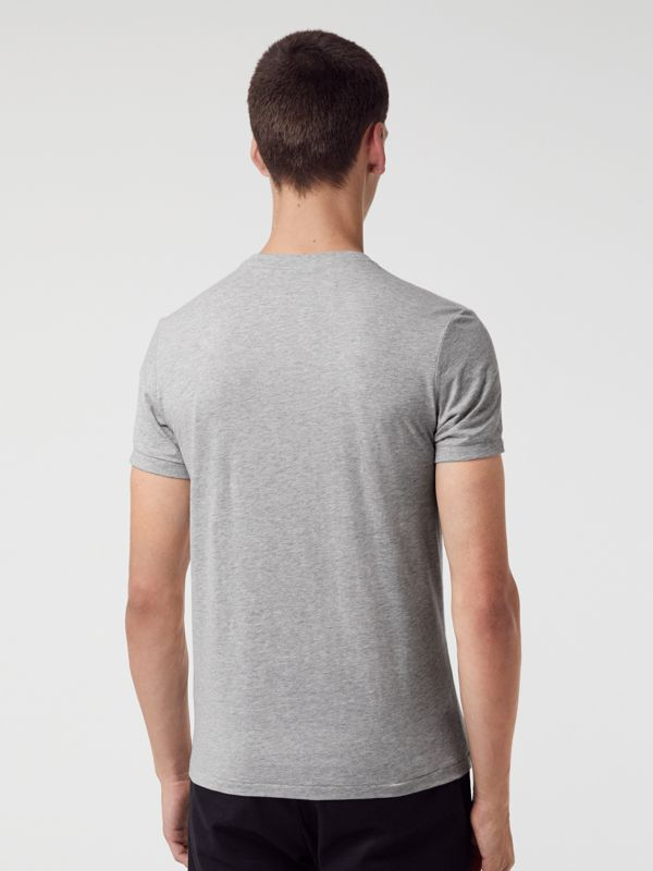 Cotton Jersey V-neck T-shirt in Pale Grey Melange - Men | Burberry United Kingdom - cell image 2