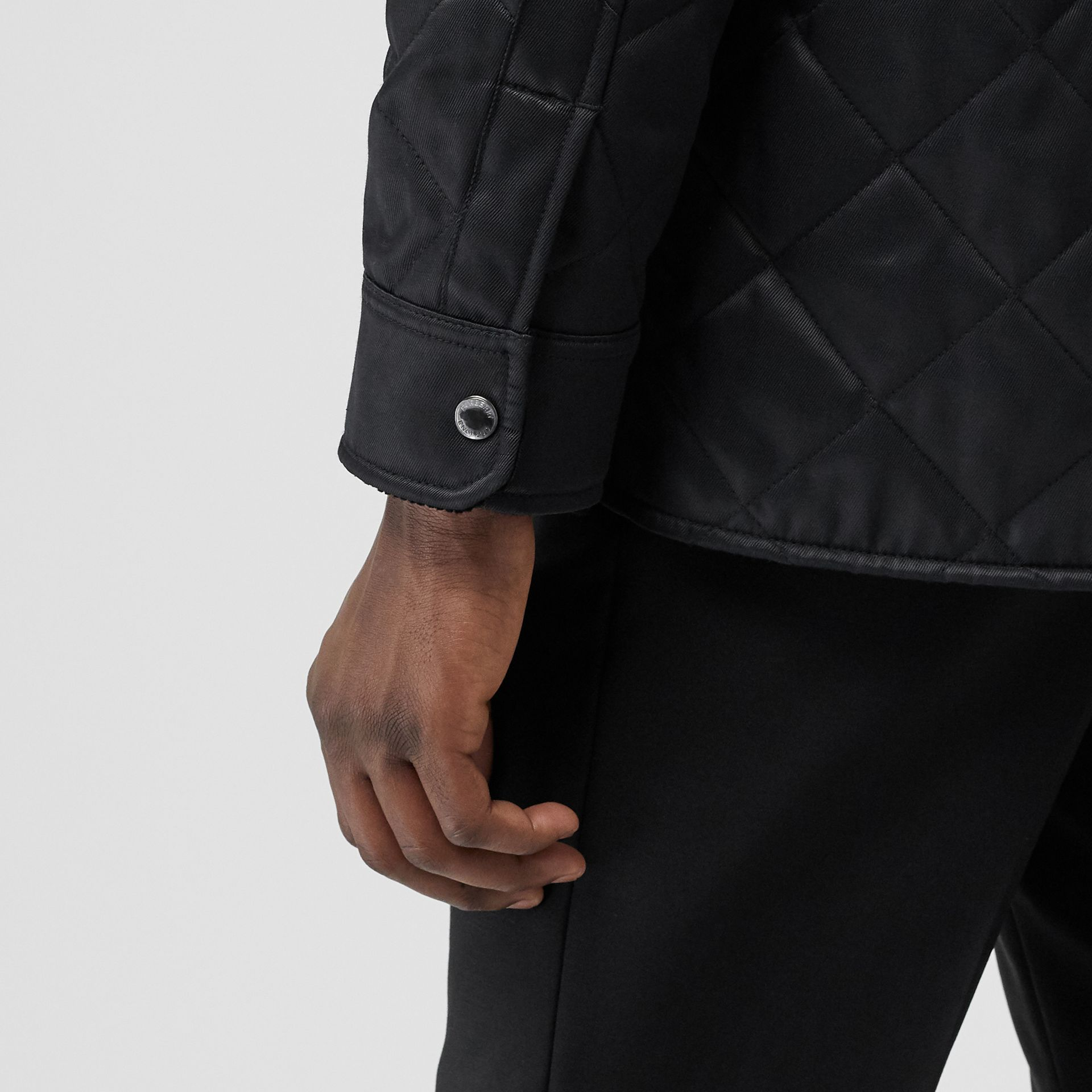 Diamond Quilted Thermoregulated Overshirt in Black - Men | Burberry - gallery image 4