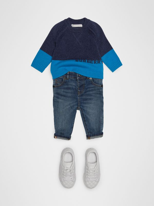 Logo Intarsia Cashmere Sweater in Navy - Children | Burberry United States - cell image 2