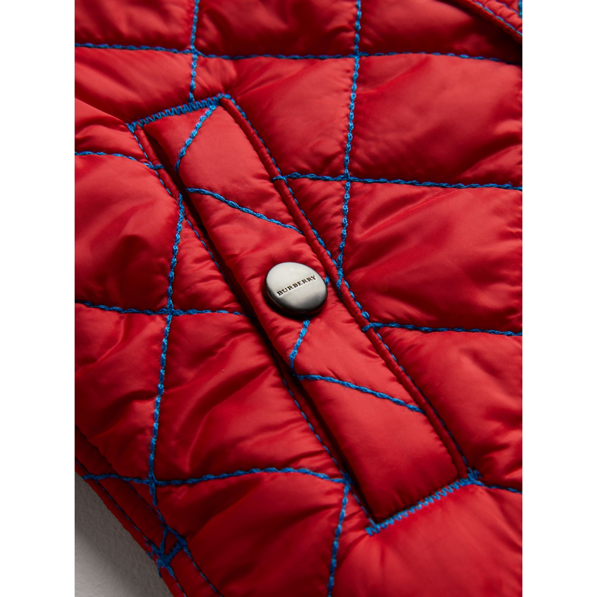 Topstitched Quilted Jacket in Bright Orange Red - Children | Burberry - gallery image 1