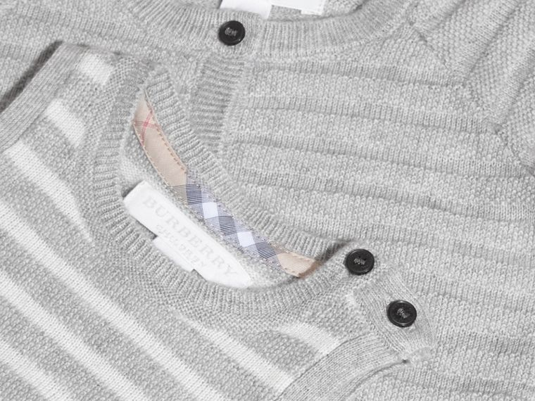 Light grey melange Striped Cashmere Cotton Two-piece Gift Set - cell image 1
