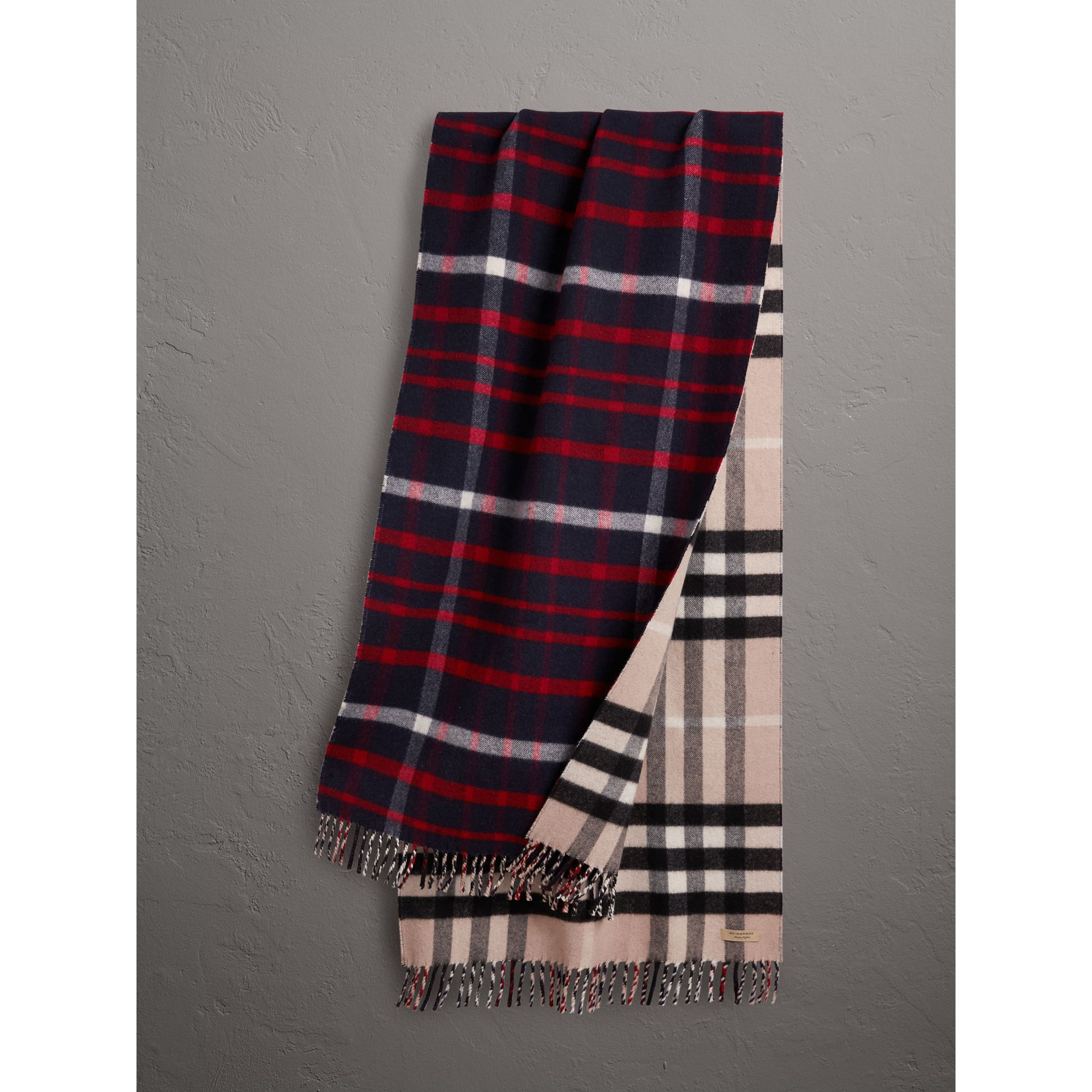 Check Wool Cashmere Oversize Scarf in Navy | Burberry United Kingdom - gallery image 1