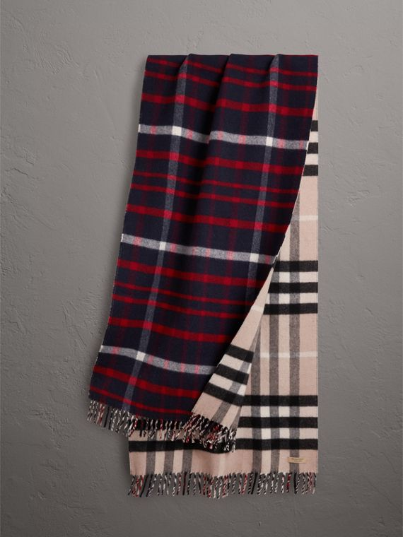 Check Wool Cashmere Oversize Scarf in Navy